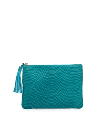 Neiman Marcus Snake Embossed Clutch Bag Turquoise