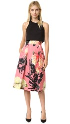 Black Halo Sanibel 2 Piece Dress Coral Chrysanthemum Black