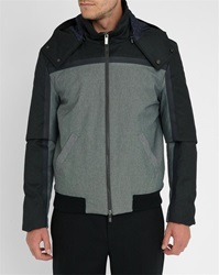 Armani Collezioni Grey Flannel And Technical Wool Dual Fabric Hooded Quilted Jacket