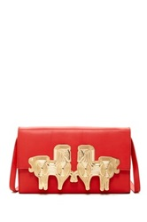 Jonathan Adler Vera Horse Convertible Leather Clutch Red