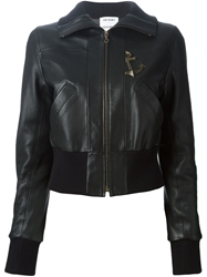 Anthony Vaccarello Anchor Plaque Leather Jacket Black