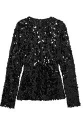 Dolce And Gabbana Sequined Tulle Top Black