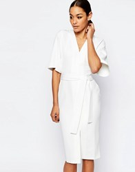 Asos Clean Obi Wrap Dress With V Front Ivory Cream