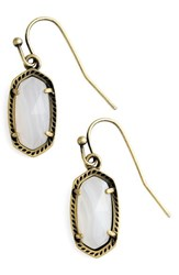 Kendra Scott Women's 'Lee' Small Drop Earrings White Agate Antique Brass