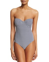 Tory Burch Striped Bandeau One Piece Swimsuit Women's Size Large Try Nvy Clsc Strp
