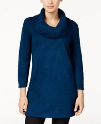 Karen Scott Marled Cowl Neck Tunic Sweater Only At Macy's Teal Lake Marl