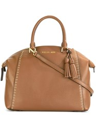 Michael Michael Kors Gold Tone Studded Detailing Tote Brown