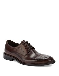 Kenneth Cole Hustle N Bustle Leather Cap Toe Oxfords Brown