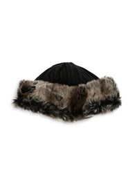 Parkhurst Fleece Lined Faux Fur Trimmed Beanie Black