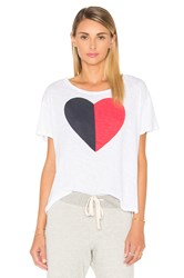 Sundry Split Heart Loose Tee White