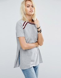 Asos T Shirt With Stripe Inserts In Longline Fit Grey