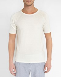 Gant Off White Cotton Knit Short Sleeve Sweater