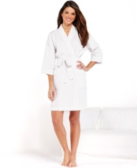 Charter Club Short Woven Waffle Robe Pretty Pink