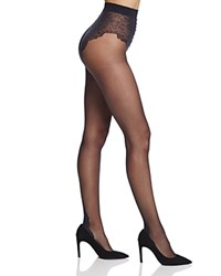 Pretty Polly Lace Top Back Seam Tights Black