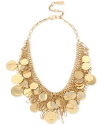 Kenneth Cole New York Gold Tone Pave Shaky Disc Mesh Statement Necklace