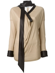 Givenchy Necktie Blouse Nude And Neutrals