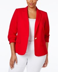 Calvin Klein Plus Size One Button Blazer Red