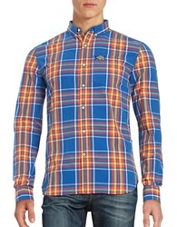 Superdry Plaid Button Front Shirt Electric
