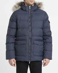 Pyrenex Navy Matte Authentic Removable Fur Polyamide Down Jacket Blue