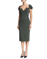 Zac Posen Cap Sleeve V Neck Bandage Dress Forest Green Women's
