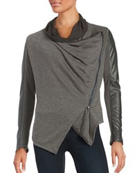 Blank Nyc The Draped Faux Leather Jacket French Grey