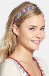 L. Erickson Satin Ribbon Headband Blue Zig Zag Blue Pink Brown