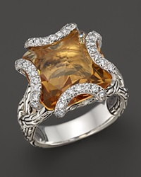 John Hardy Batu Classic Chain Sterling Silver Medium Braided Ring With Citrine And Diamonds Silver Orange