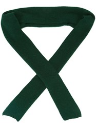 Cedric Charlier Ribbed Trim Scarf Green