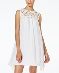Trixxi Juniors' Crocheted Handkerchief Hem Shift Dress White