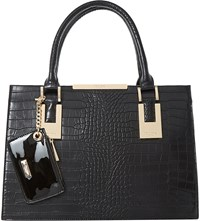 Dune Deedee Faux Leather Tote Black Croc