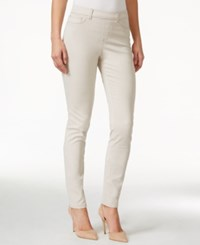 Charter Club Colored Pull On Skinny Jeans Cream Stone