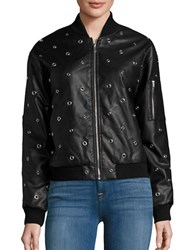 Design Lab Lord And Taylor Embellished Faux Leather Bomber Jacket Black