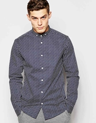 Solid Tailored And Originals Polka Dot Shirt In Skinny Fit Navy