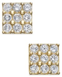 Macy's Cubic Zirconia Square Cluster Stud Earrings Yellow Gold