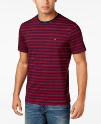 Tommy Hilfiger Men's Big And Tall Hunter Striped T Shirt Navy Blazer Chili Pepper