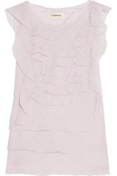 L'agence Charisse Ruffled Cotton And Silk Blend Top Lilac