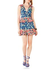 Bcbgmaxazria Printed Peplum Dress Dark Ink Combo