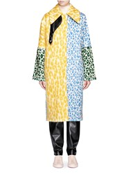 Acne Studios 'Bertilyn' Patchwork Leopard Print Felted Mohair Blend Coat Animal Print Multi Colour