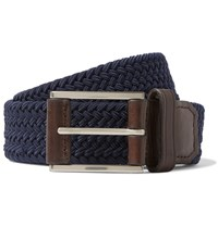 Michael Kors 3.5Cm Navy Leather Trimmed Woven Elasticated Belt Blue