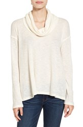 Sun And Shadow Women's Cowl Neck Flyaway Back Tee Ivory Eggnog