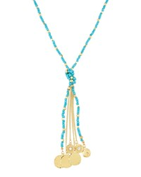 Emily And Ashley Greenbeads By Emily And Ashley Long Beaded Disc Tassel Necklace Turquoise