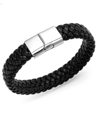 Sutton By Rhona Sutton Men's Stainless Steel Clasp And Black Braided Leather Bracelet