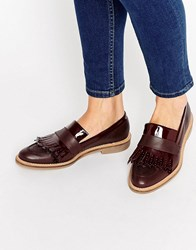 Asos Manning Premium Leather Loafers Burgundy Red