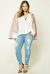 Forever 21 Plus Size Mid Rise Short Jeans Denim Washed