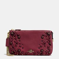 Coach Willow Floral Nolita Wristlet 24 In Pebble Leather Light Gold Burgundy