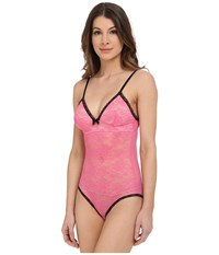 Betsey Johnson Retro Lacey Bodysuit J8002 Pink Flirt Women's Jumpsuit And Rompers One Piece