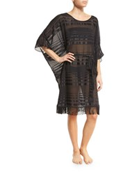 Gottex Regatta Fringe Hem Striped Caftan Coverup Black
