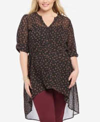 Motherhood Maternity Plus Size High Low Blouse Black Ditsy Floral Print