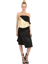 Pedro Lourenco Metallic Lame And Viscose Crepe Dress
