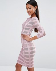 Wow Couture Co Ord In Bandage Mesh Blush Pink